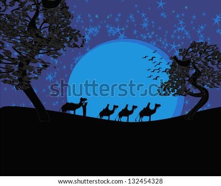 Blue sunset in the sahara desert with bedouins - stock vector
