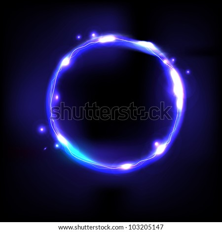 Blue Swirl, Isolated On Black Background, Vector Illustration