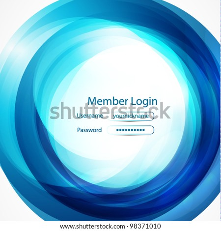 Blue swirl login page - stock vector