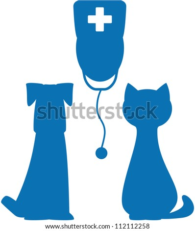 blue symbol of veterinary medicine with doctor, dog and cat silhouette - stock vector