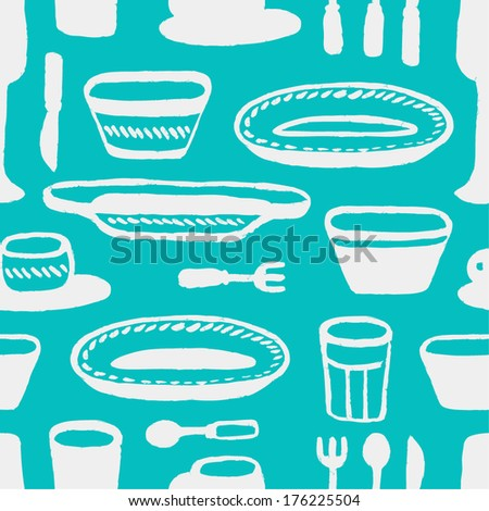 blue tableware seamless pattern - stock vector