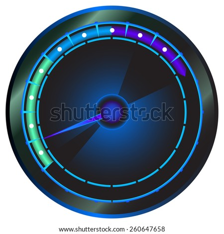 Blue tachometer on an isolated background. - stock vector