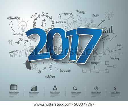 Blue tags label 2017 text design on creative thinking drawing business success strategy plan ideas concept, Inspiration concept modern template layout, diagram, step up options, Vector illustration