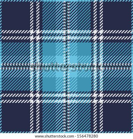 Blue Tartan Plaid Pattern Design - stock vector