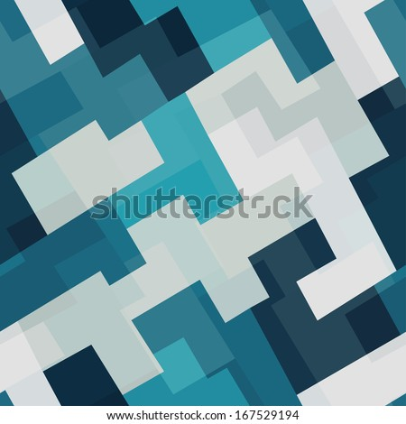 blue tech square seamless pattern - stock vector