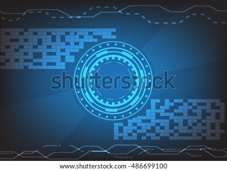 Blue technology background with abstract objects. Vector tech circle and technology background, speed communication concept.