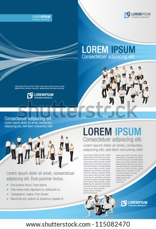 Blue template for advertising brochure with business people - stock vector