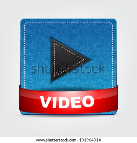 Blue Textile Video icon with a red bow. - stock vector
