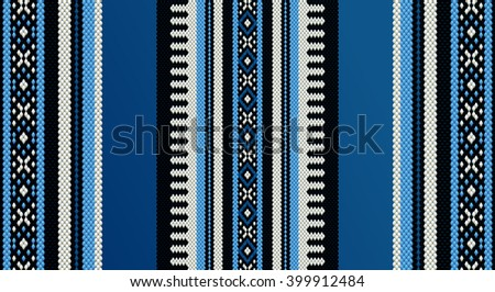 Blue Theme Sadu Weaving Middle Eastern Traditional Rug Texture - stock vector