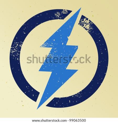 Blue thunder crossing circle - stock vector