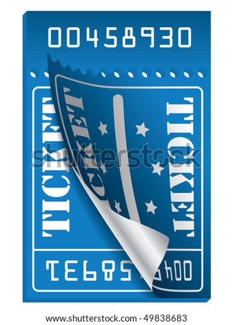 Blue ticket to be torn - stock vector