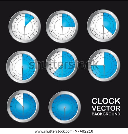 blue timer clock over black background. vector - stock vector