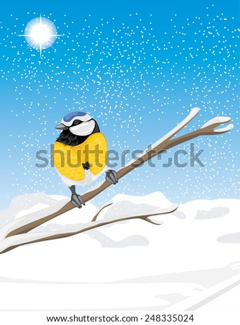 Blue tit sitting on a snowy branch tree. Vector - stock vector