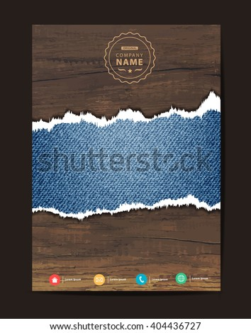 Blue torn denim jeans texture on wooden background space for text, Business brochure flyer design layout template in A4 size, Vector illustration modern design ( Image trace of wooden background )
