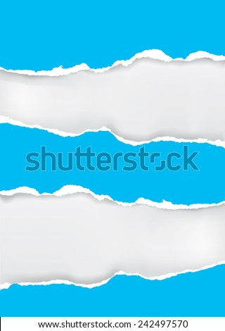 Blue torn paper background. Vector illustration of blue ripped paper with place for your image or text.  - stock vector