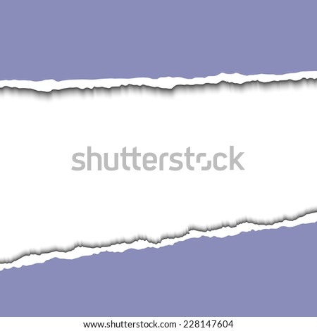 Blue torn paper strips with space for your text between it. Vector EPS10 illustration. Design elements - colored paper with ripped edges