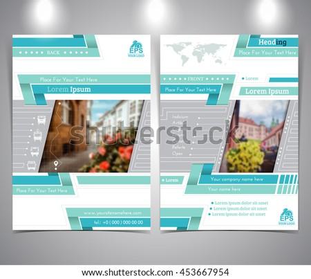Blue tourist brochure or flyer design template vector modern style - stock vector