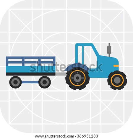 Blue tractor with trailer