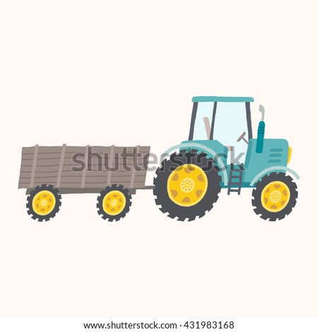 Blue tractor with trailer.  Vector hand drawn eps 10 illustration isolated on white background. - stock vector