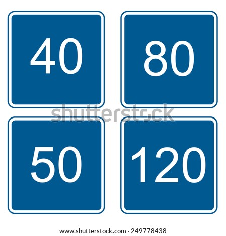 blue traffic signal with a speed limit - stock vector