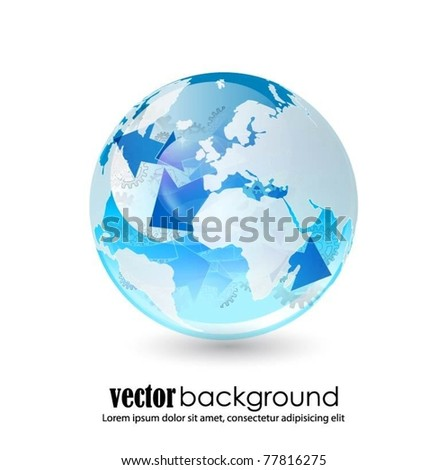 blue translucent globe with arrows symbol-vector - stock vector