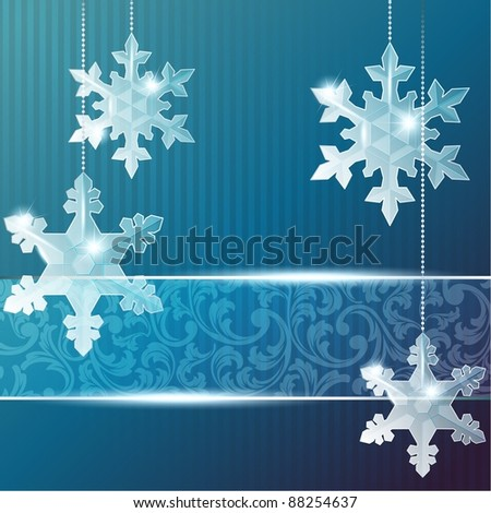 Blue transparent banner with snowflake ornaments (eps10);  jpg version also available - stock vector