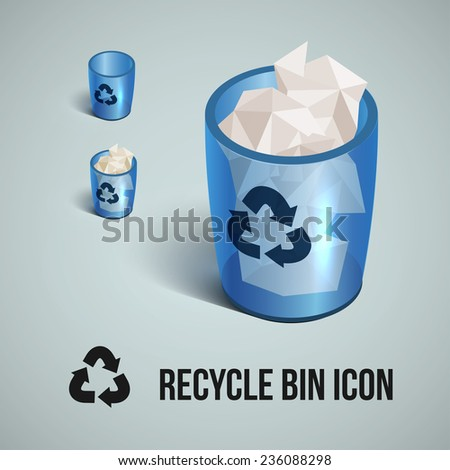 blue transparent realistic recycle bin icons set. Vector illustration.  - stock vector