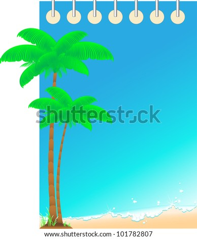 blue travel background notepad with ocean wave and palm. space for text