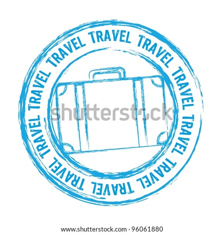 blue travel stamp isolated over white background. vector - stock vector