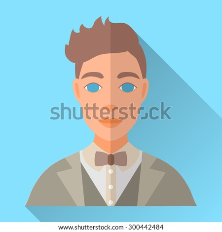 Blue trendy flat square wedding day fiance icon with shadow. Illustration of handsome future husband with stylish brown hair wearing light grey hipster suit, waistcoat, white shirt and brown bow tie. - stock vector