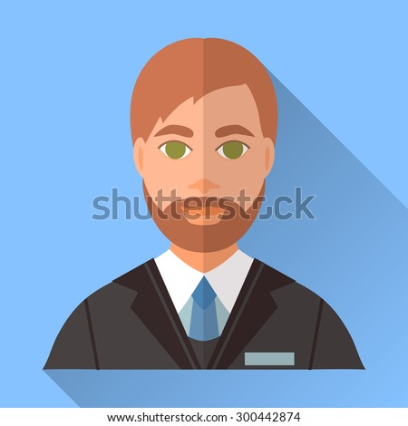 Blue trendy flat square wedding day fiance icon with shadow. Illustration of handsome future husband with short brown hair, stylish beard and mustache wearing black suit, white shirt and blue tie. - stock vector