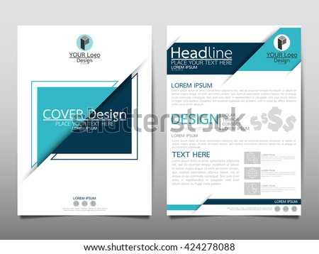Blue triangle annual report brochure flyer design template vector, Leaflet cover presentation abstract geometric background, layout in A4 size - stock vector