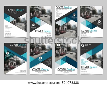 Blue triangle collection set cover business brochure vector design, Leaflet advertising abstract background, Modern poster magazine layout template, Annual report for presentation.