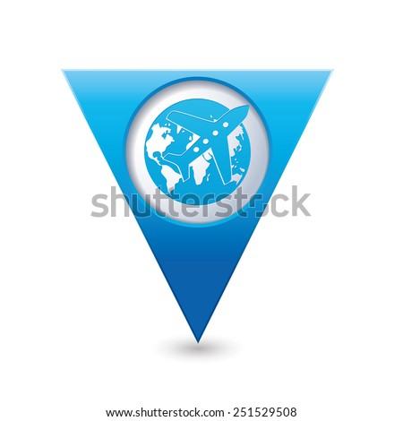Blue triangular map pointer with airplane and earth globe icon. Vector illustration - stock vector