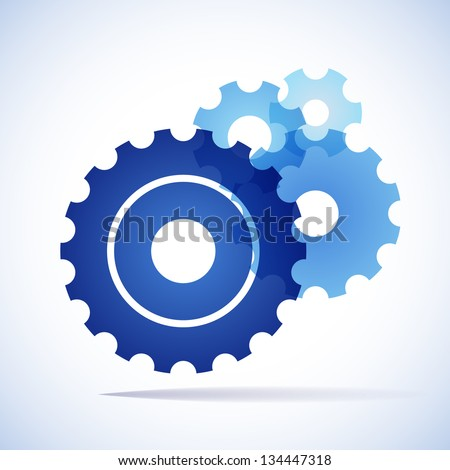 blue trnsparent cogs (gears) on white background - stock vector