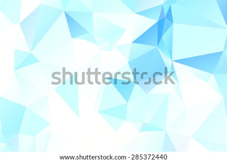 Blue tropical ocean beach inspired origami style low poly triangle background template - stock vector
