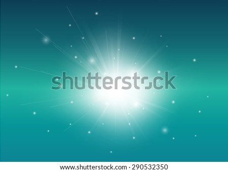 Blue Turquoise and glowing light ray beam abstract background - stock vector