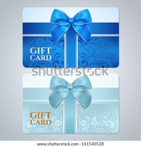 Blue, turquoise gift card (discount card, business card) with floral (scroll, swirl) pattern (tracery), Bow, ribbon. Background design for gift coupon, voucher, invitation, ticket etc. Vector - stock vector