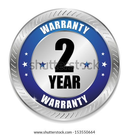 Blue two year warranty seal - stock vector