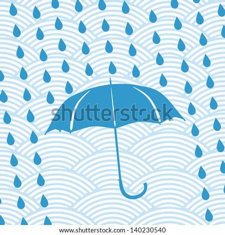blue umbrella and rain drops on the waved background - stock vector