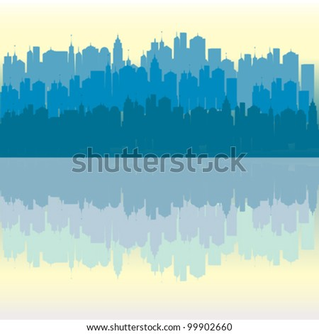blue urban city vector reflecting in the water - stock vector