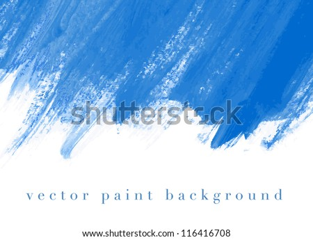 Blue vector abstract hand painted watercolor daub background - stock vector