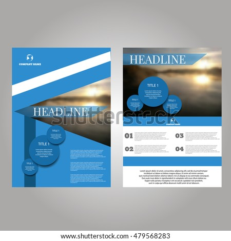 Blue Vector annual report Leaflet Brochure Flyer template design eps10 vector