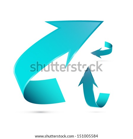 Blue Vector Arrows Set Isolated on White Background - stock vector