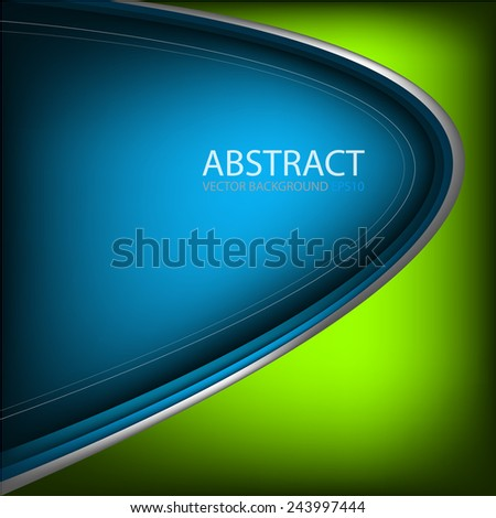 Blue vector background and green gradient curve silver grey line on dark space overlap layer graphic for text and message modern artwork design - stock vector