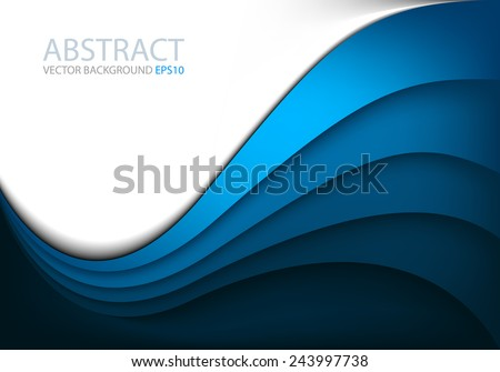Blue vector background curve line on white space shadow overlap layer modern texture pattern for text and message website design - stock vector