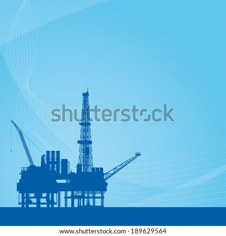 Blue vector background with oil platform - stock vector