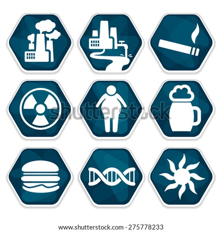 Blue Vector Cancer Risk Factors Icons Stock Vector 275778233