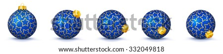 Blue Vector Christmas Balls Collection with Starlet Texture - Panorama Bauble Set - Star Pattern - X-Mas Decorations - Each Ball is in Extra Vector Layer, Cleanly Separated - Christmas Tree Decor. - stock vector