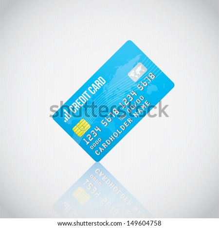 Blue Vector Credit Card - stock vector